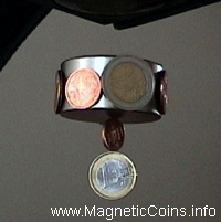 1 and 2 Euro coins are only partly magnetic and will stick by their rims only  to very strong mangets like this levitating, very strong but potential dangerous, neodymium magnet